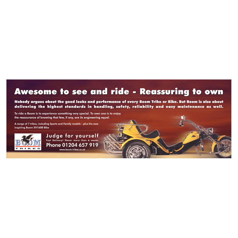 Boom Trikes advert design
