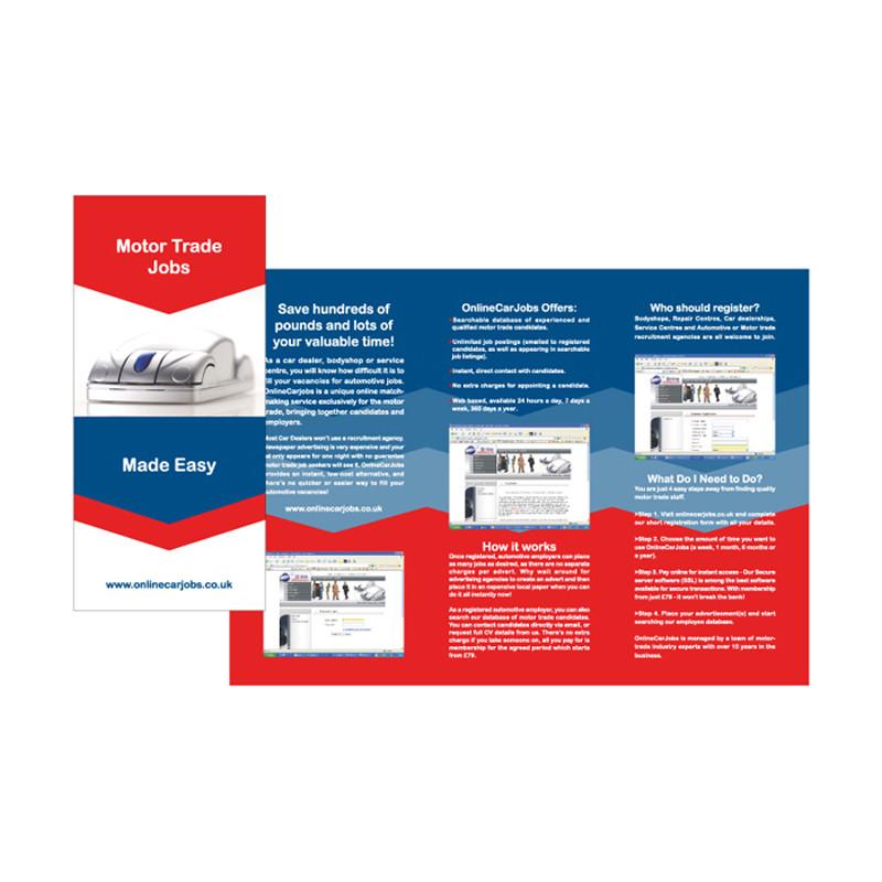Motor trade jobs leaflet design