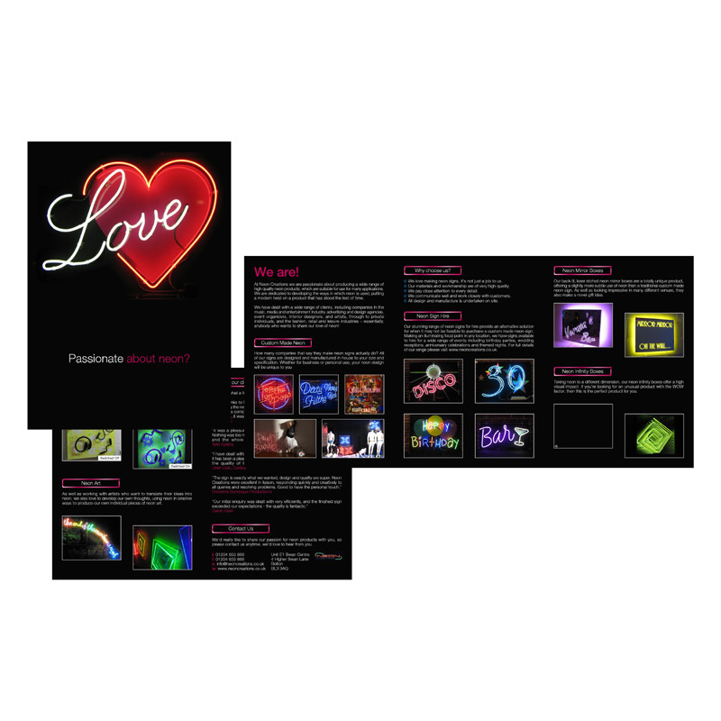 Neon Creations leaflet design